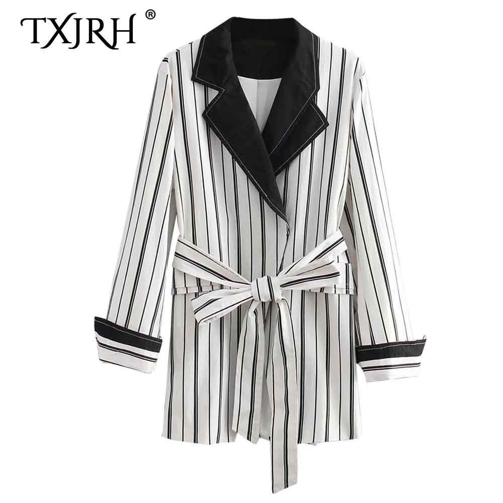 TXJRH Retro Black White Vertical Stripe Bow Tied Sashes Waist Blazer Women Notched Collar Mid Long Suit Jacket Coat Outerwear
