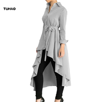 TUHAO Office Lady Striped Tunic Tops Long Sleeve Blouse Shirts 2018 Autumn Winter Elegant Long Women's Blouses Shirt Top DL119