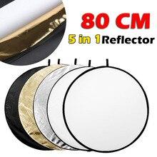 """80 см 3"""" 5 в 1 отражатель для фотосъемки круглый фотовспышка студийный складной светильник отражатель золотой серебряный белый черный прозрачный"""