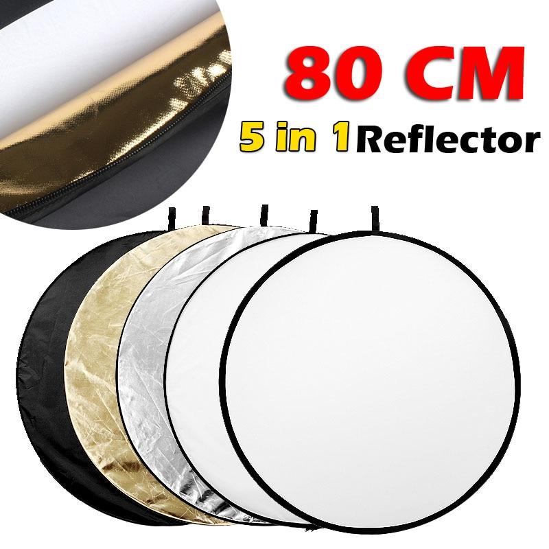 80CM 31 5 in 1 Reflector Fotografia Round Flash Photo Studio collapsible light reflector Gold Silver White Black Translucent