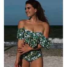 High Waist Striped Ruffled Vintage Bikinis