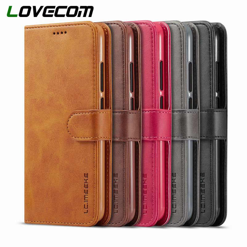 LOVECOM Magnetic Leather Wallet Flip Phone Case For iPhone X XS XS MAX XR 6 6S 7 8 Plus Full Body Business Phone Back Cover