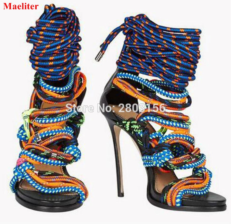цена на Sexy mixed-color Stiletto heels sandal open toe ladies summer Gladiator sandals rope knot Ankle Strappy Shoes Woman