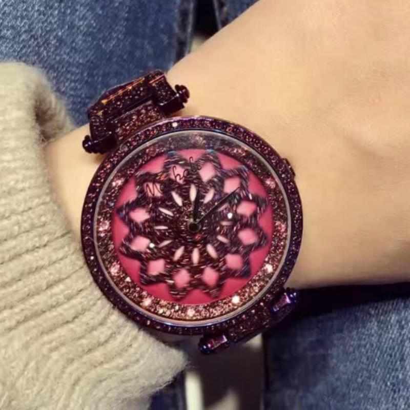 Fanshion Top Quality Rotate Crystal Diamond Bracelet Quartz Watches Woman Watches Brand Luxury Ladies Wrist Watches For Women 2017 new quartz watches woman s top brand for gift leather bracelet luxury women s watches