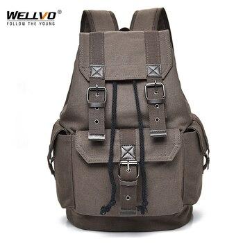 Wellvo キャンバスヴィンテージバックパック男性十代の少年バックパック学生学校リュックサック大容量巾着バッグ XA2WC