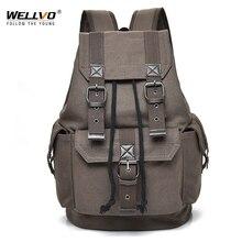 Wellvo sac à dos Vintage en toile pour hommes, sacs à dos pour adolescents, sacoche de voyage pour lécole, grande capacité, à cordon de serrage XA2WC