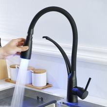 OUYASHI kitchen faucet led light multi-color sink mixer tap deck mounted pull down single handle water