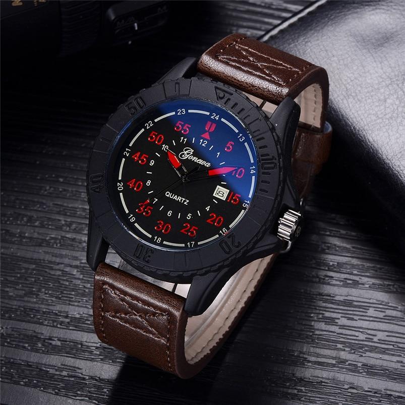GONEWA Mens Quartz Wrist Watch Analog Date Day Army Sport Leather Luxury GONEWA Fashion Business Wrist Watch Men Watch 2017