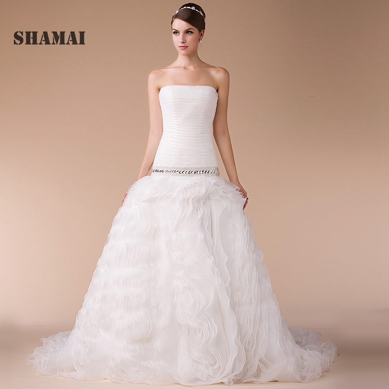 Ruching Wedding Gowns: Wedding Dresses Real Photo Sweep Train Beading Ball Gowns