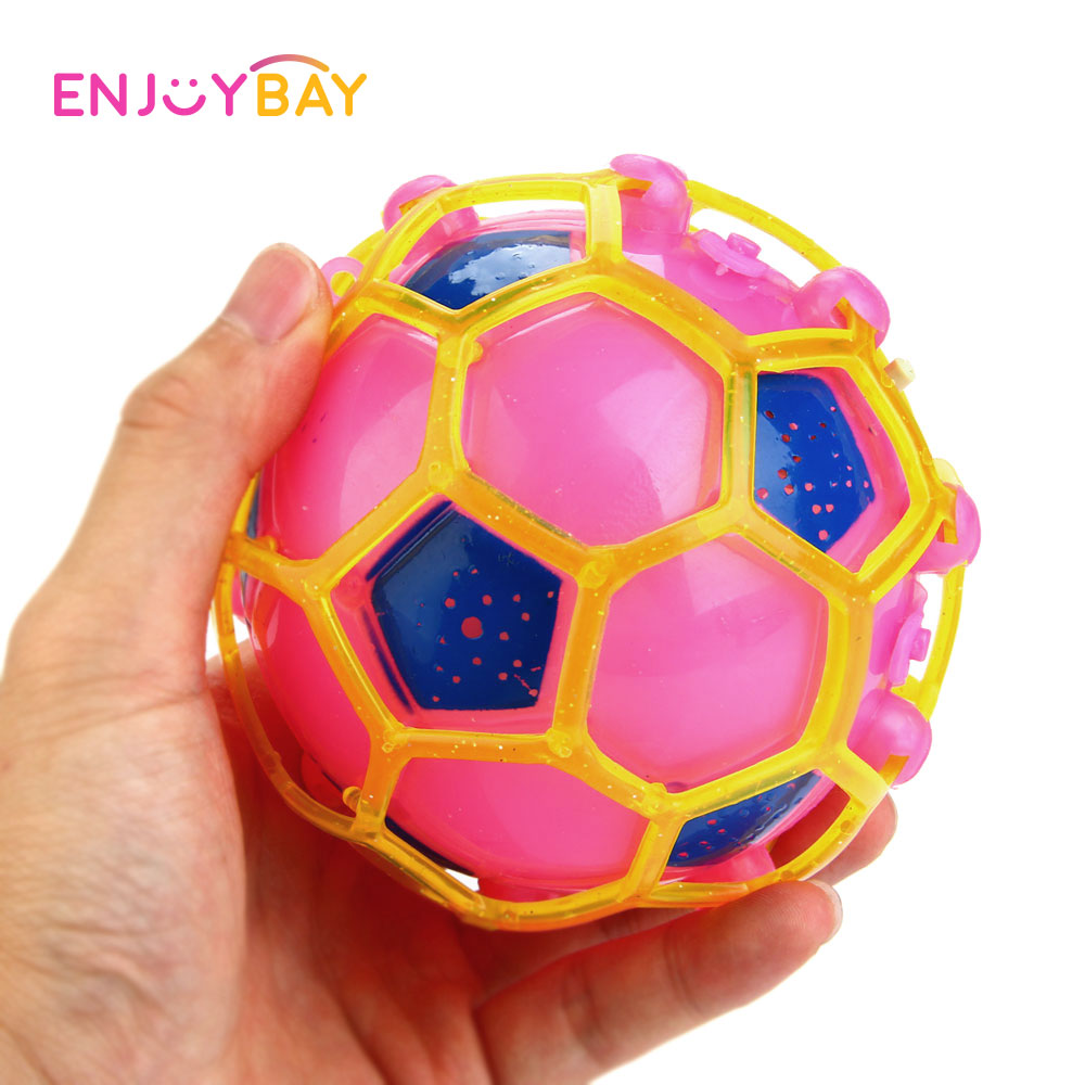 все цены на Enjoybay LED Light Jumping Ball Toys Kids Crazy Music Football Bouncing Ball Cute Dancing Ball Children Funny Toy for Kids Gifts