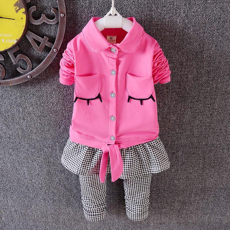 2016 spring grils clothes turn-down collar shirt plaid pant dress baby girls clothing set  T-shirt + pants 100% cotton cute