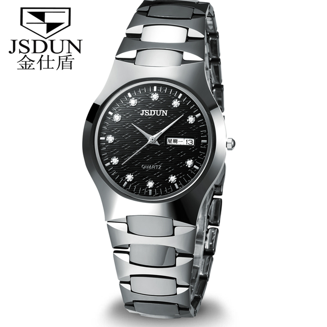 Classical JSDUN Analog Tungsten Steel Band Luxury CZ Diamond Men's Sports Military Watch Date Day Display Dress Wrist Watch 6158