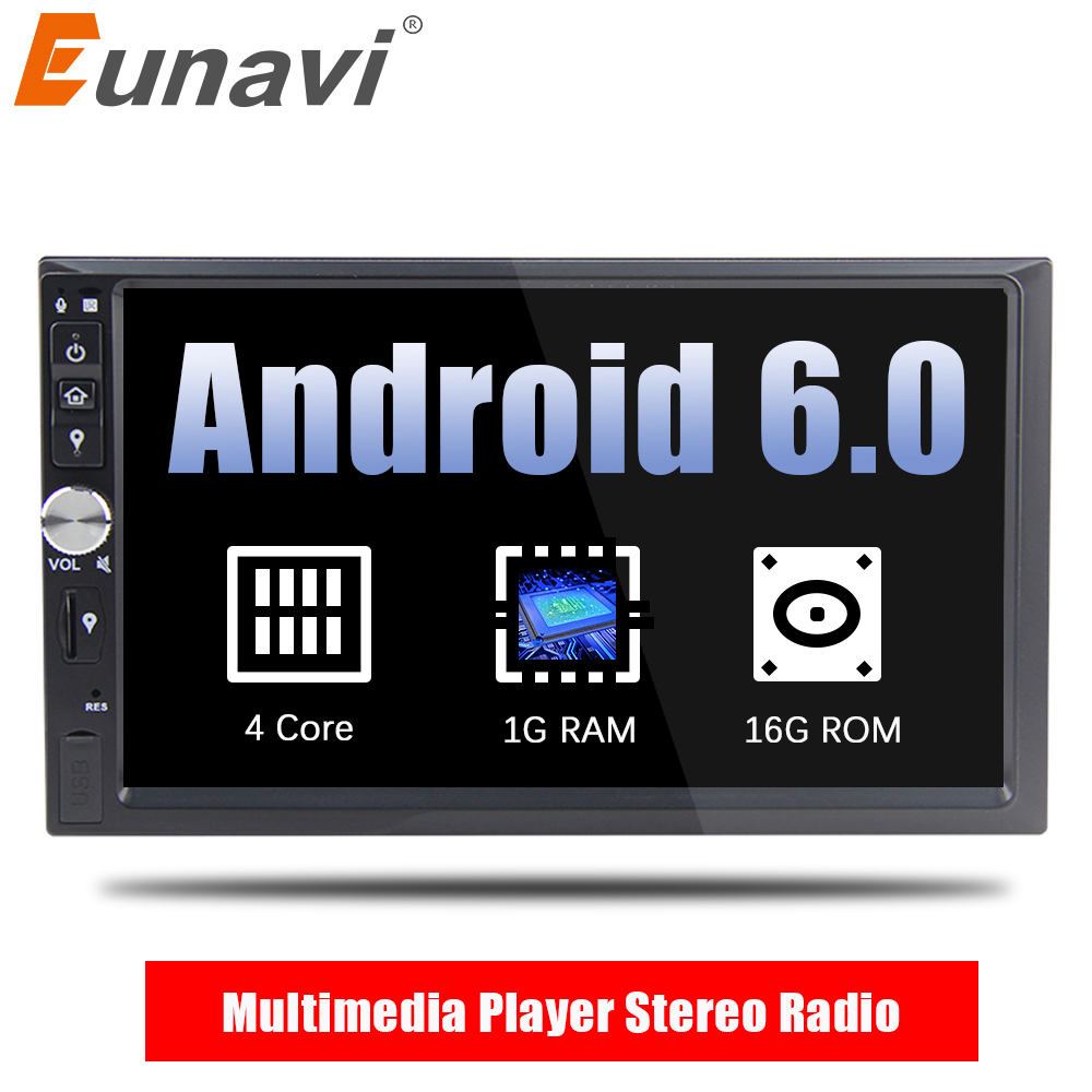 все цены на Eunavi 2 Din 7'' Android 6.0 Car Multimedia Player Quad core Audio Stereo Radio GPS Navigation HD 1024*600 touch screen WIFI USB онлайн