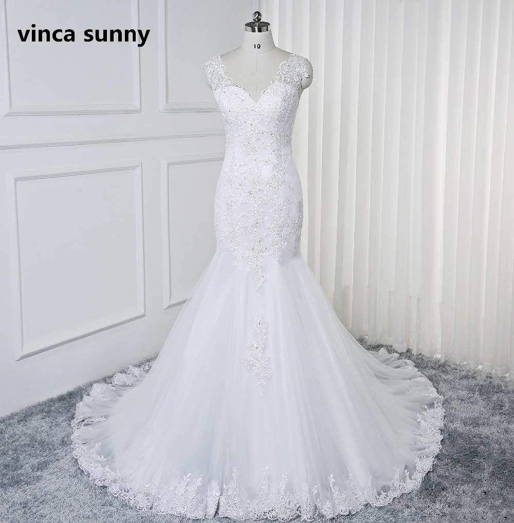 Robe De Noiva 2019 Sexy V neck Robes de Mariée sirène Main Dentelle Perlée Mariée Robes Dos Nu robe De mariage sirene