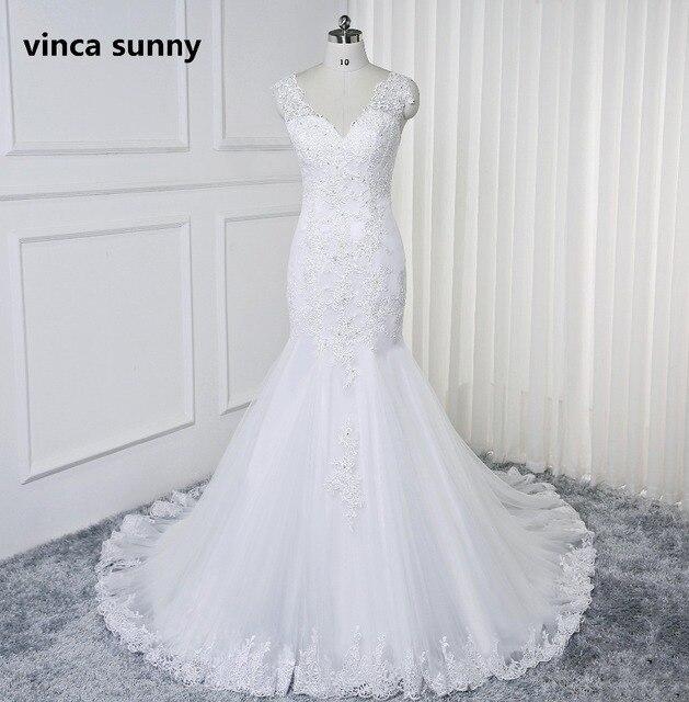 Vestido De Noiva 2019 Sexy V neck Wedding Dresses mermaid Handmade Beaded Lace Bride Gowns Backless robe de mariage sirene