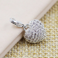 TS Jewellery 925 Sterling Silver White Zirconia Solid Heart Charms Fit Bracelet Bag Thomas Style Charm