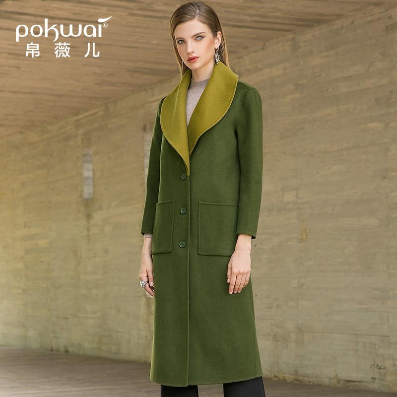 Nouvelle À Revers 2018 Manches Longue Longues face Veste Femme Laine Mince Hiver Grand Double Army Green De Pokwai Manteau pxwqSYP0c