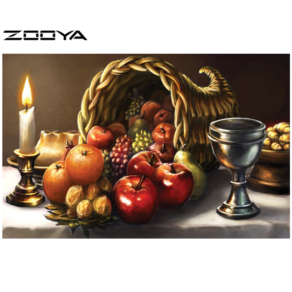 ZOOYA Diamond Painting Diamond Embroidery Fruit Dinner Candle Restaurant Kitchen Dining Needlework DIY Pattern Rhinestones RF513