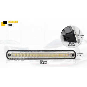 MAXGTRS 1set Waterproof Car High Power 36smd 2835 LED Daytime Running Lights With Amber Turn Signal DC12v Xenon White DRL