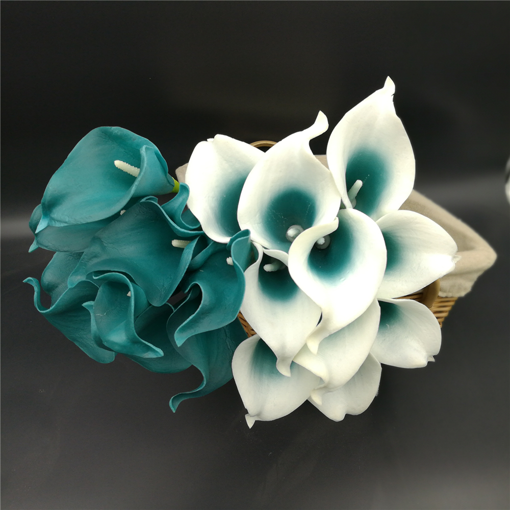 Oasis Teal Wedding Flowers Teal Blue Calla Lilies 10 Stem Real Touch