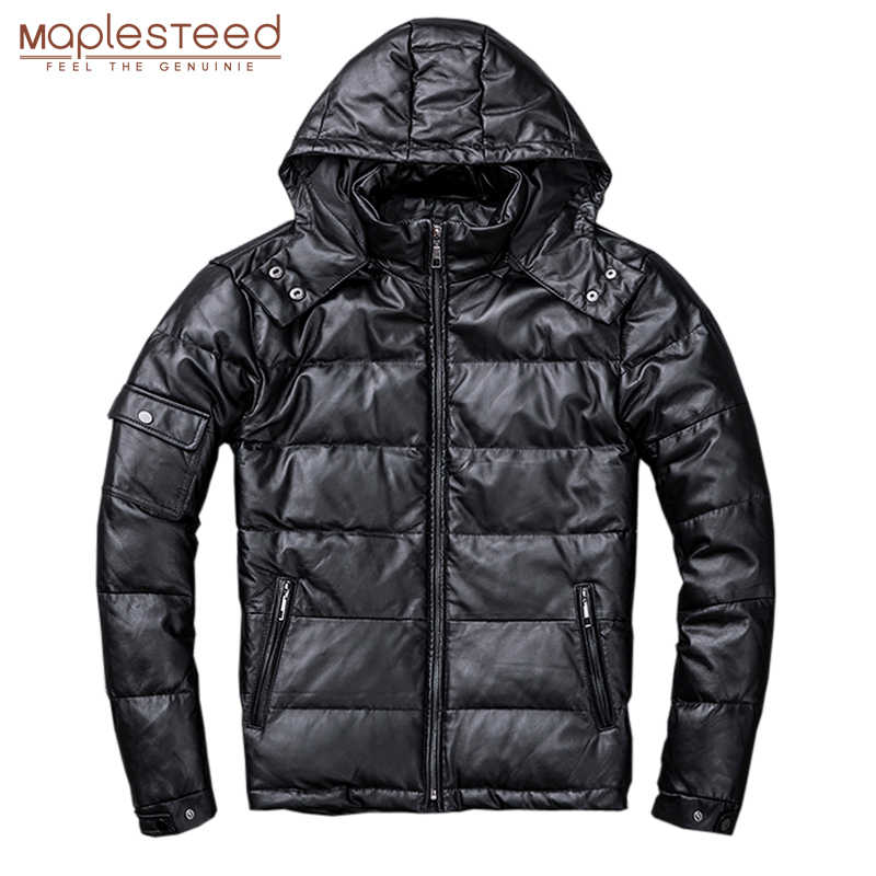 MAPLESTEED 100% Natural Sheepskin Leather Duck Down Coat Hood Removable Warm Men Leather Coat Hooded Man Overcoat Winter M211