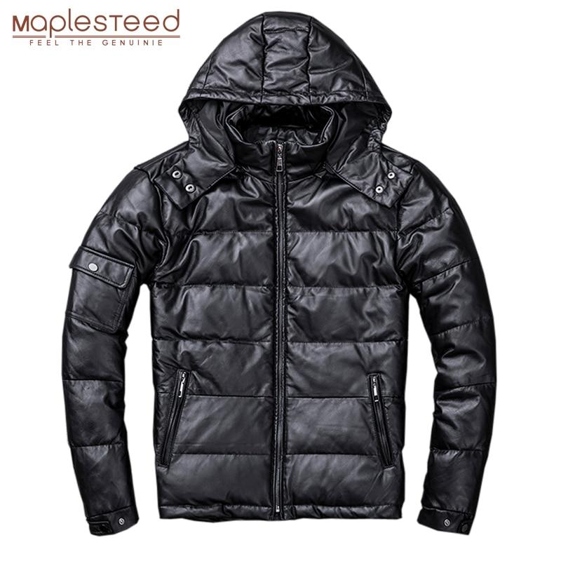 Мужской пуховик MAPLESTEED, из 100% натуральной овчины, со съемным капюшоном, теплая зимняя куртка с капюшоном, M211Кожаные куртки    АлиЭкспресс