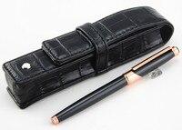 business affairs Black Rose Gold Clip Roller Ball Pen CROCODILE pattern leather bag