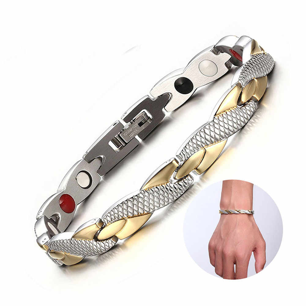 Витой Здоровый Магнитный браслет для женщин power терапевтические магнитики Магнетитовые браслеты для мужчин ювелирные изделия из нержавеющей стали