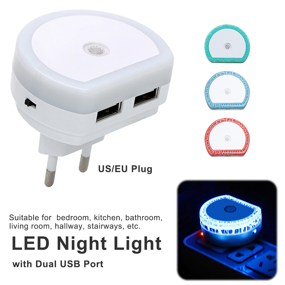 White EU/US Plug LED Night Light With Dual USB Wall Charger Plug Dusk To Dawn Sensor Wall Lamp