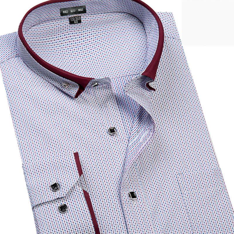 Neue ankunft Herbst shirt männlichen druck lange-sleeve extra große männliche formalen mode lässig plus größe M-6XL 7XL 8XL 9XL