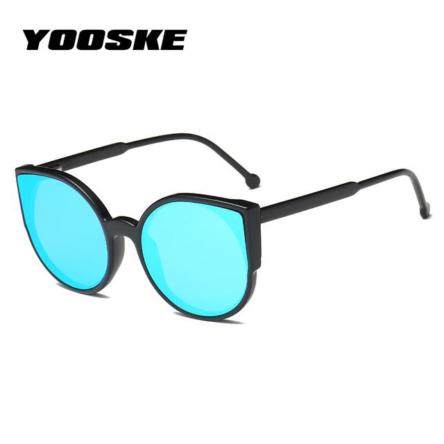 YOOSKE Women Cat Eye Sunglasses  Fashion Coating Mirror Sexy Cateyes Sun Glasses For Female Vintage Eyewear Womens Glasses UV400
