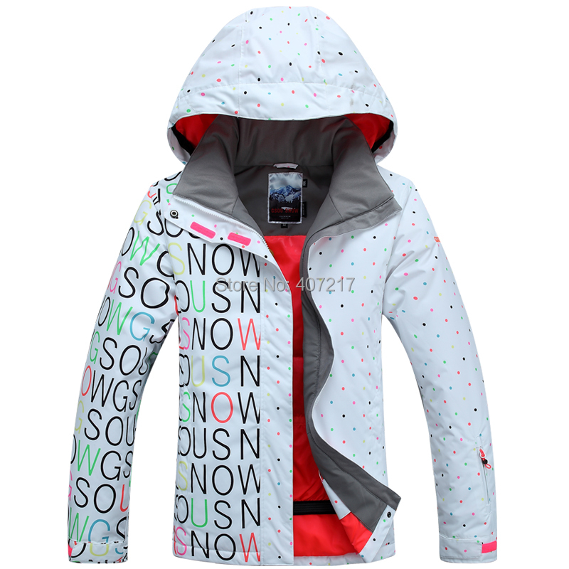 Gsou Snow Women's White Black Ski Jacket Letters And Colorful Dots Snowboarding Jacket For Women Skiwear Waterproof 10K