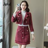 Korean Autumn Winter Women 2 Piece Set 2018 red Plaid Tweed turn down collar Long Sleeve short Blazers Coat + tassel Mini Skirt
