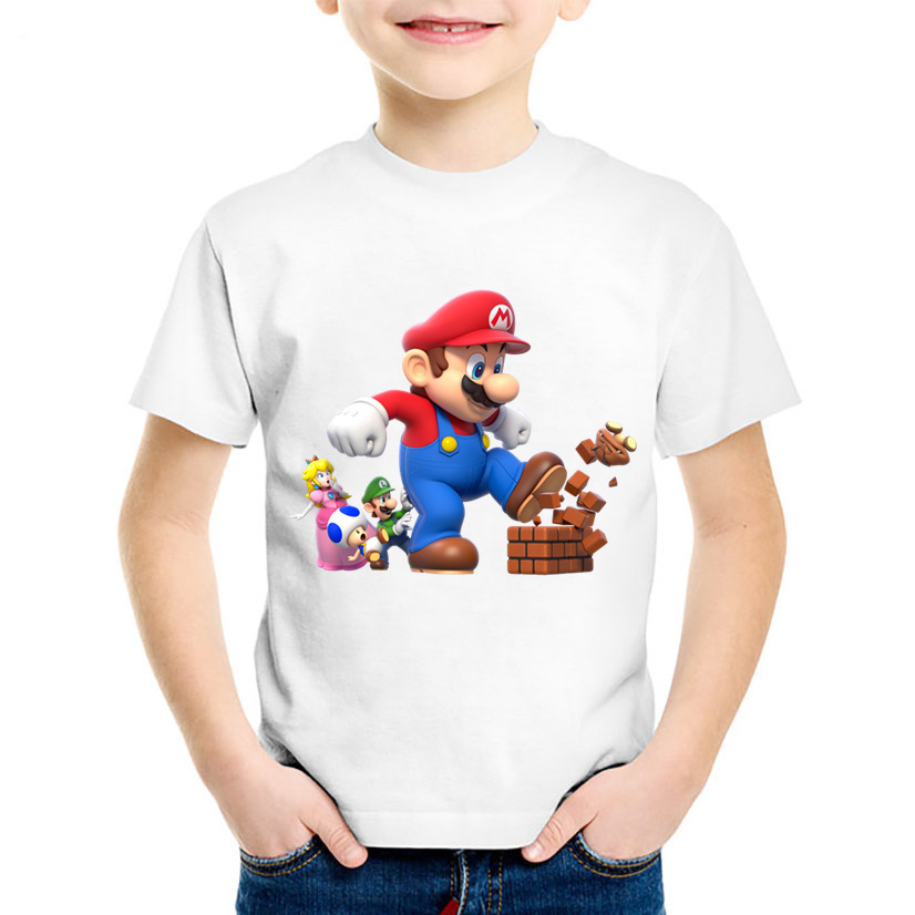 Cartoon Print Super Mario With Luigi Children Funny T-shirts Kids Summer O-Neck Tees Boys/Girls Casual Tops Baby Clothes,HKP5175 hot sale kids t shirts cartoon streetwear short sleeve casual o neck boys and girl t shirts tops funny children t shirt homme