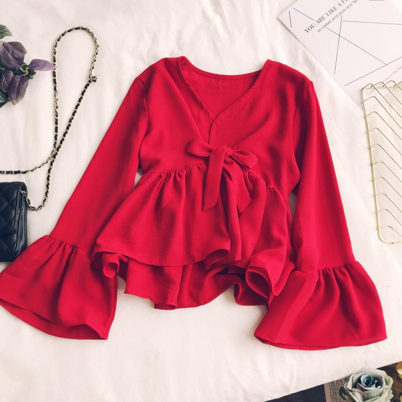 2018 autumn new female V-neck trumpet sleeves lace-up bow lotus leaf chiffon   shirts   women's solid color elegant   blouses     shirt