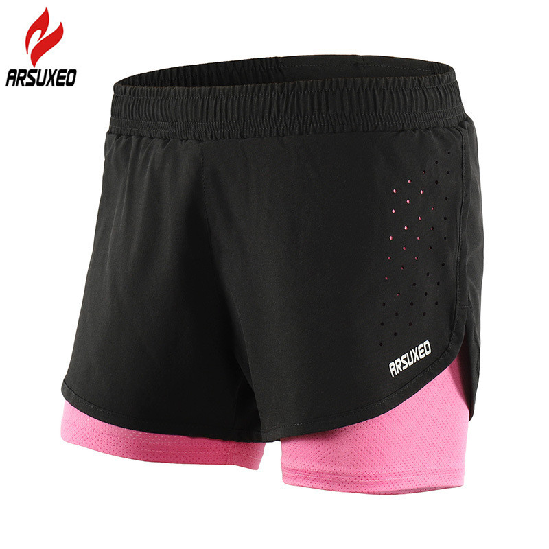 ARSUXEO Running Shorts Women Summer Compression Breathable Gym Shorts 2 In 1 Marathon Sport Tight Shorts With Back Zipper Pocket