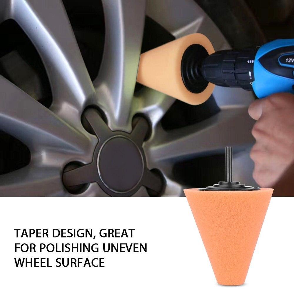 Burnishing Foam Sponge Polishing Cone Shaped Buffing Pads Car Wheel Hub Tool