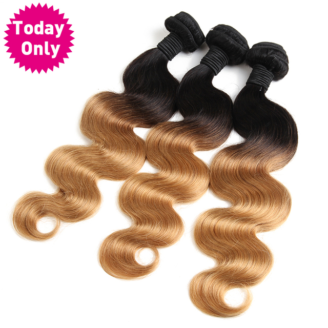 [TODAY ONLY] Blonde Brazilian Body Wave Bundles Ombre Human Hair Weave Bundles Two Tone 1b 27 Hair Extensions Non Remy Hair