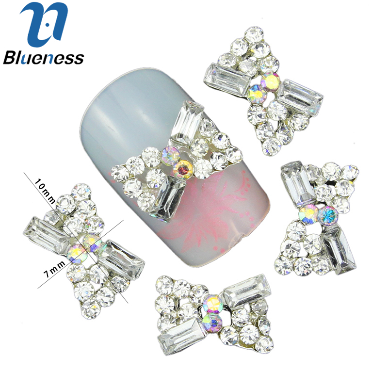 Delicious 10 Pcs/lot Hollow Silver Alloy Nail Art Charms Rhinestones Full Of Bow Design Manicure Studs 3d Crystal Jewelry Nails Tn1304 Bracing Up The Whole System And Strengthening It Rhinestones & Decorations Nails Art & Tools