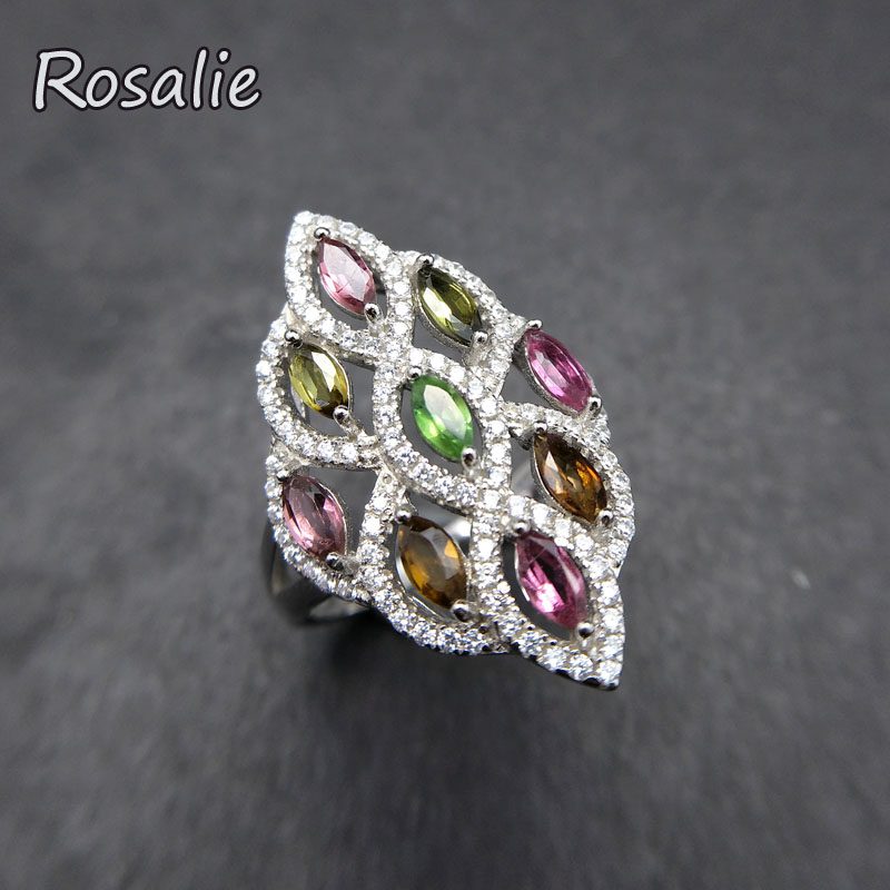 Rosalie,Natural Colorful tourmaline gemstone Ring 925 sterling silver elegant design new ring for women fine jewelry nice gift rosalie natural 0 5ct yellow sapphire gemstone ring elegant design 925 sterling silver fine jewelry for girls fine jewelry