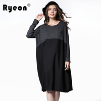 Ryeon Plus Size Autumn Winter Dress Vintage O Neck Long Sleeve Patchwork Retro Sexy Casual Spring