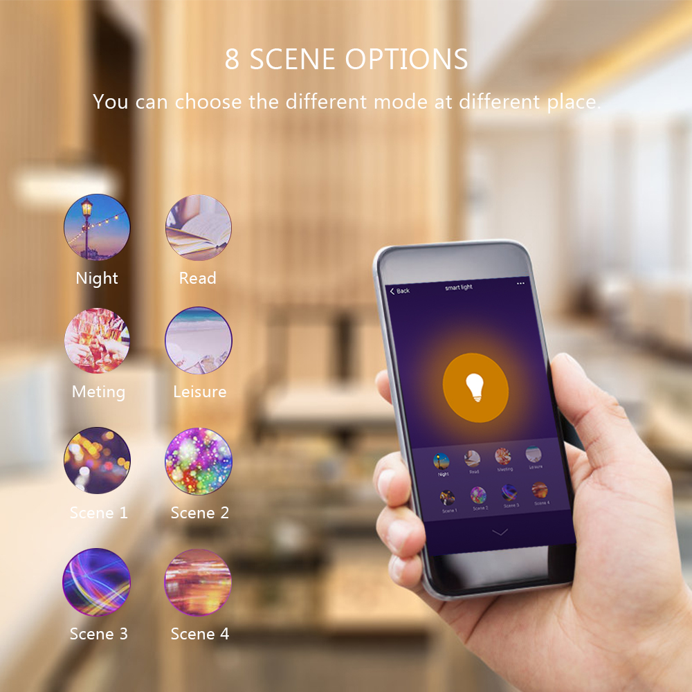 Tuya Smart Life APP Dimmable E27 WiFi RGB LED Bulb Light Voice Control by Echo Alexa Google Assistant 2.4G WiFi Timer Control-5