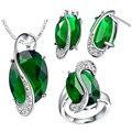925 prata conjuntos de jóias de casamento com safiras e anel set