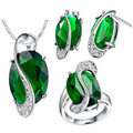 Hot sale Women 925 Sterling Silver Fashion Jewelry Sets of earrings with sapphires and a ring Quality Wedding green necklace set