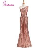 Sparkly Bridesmaid Dresses Long Sequins 2016 Rose Gold Wine Red Blue One Shoulder Colorful Vestidos De