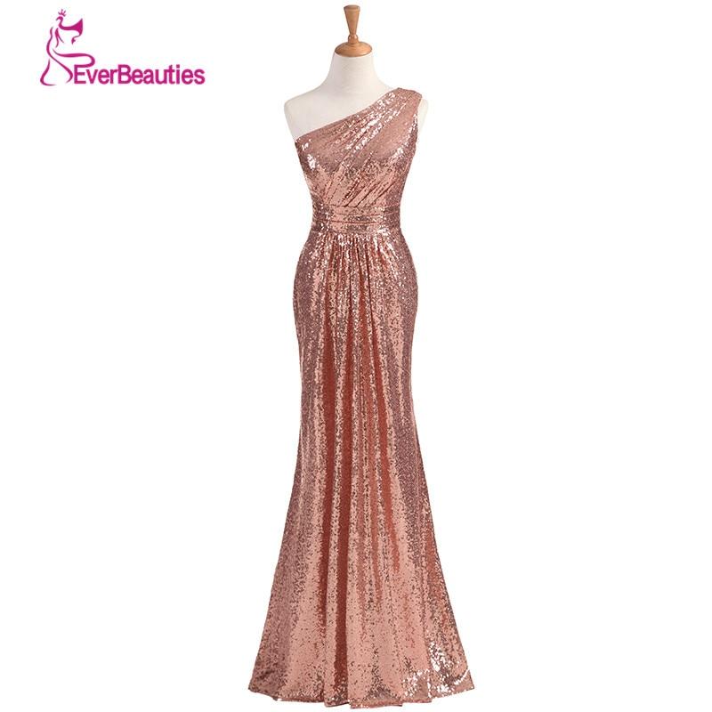 Robes De demoiselle d'honneur scintillantes longues paillettes 2019 or Rose vin rouge bleu une épaule coloré robes De Madrinha De Casamento