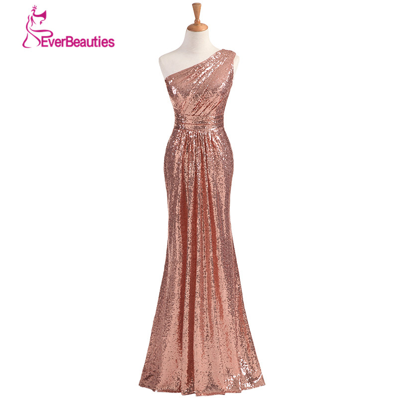 Sparkly   Bridesmaid     Dresses   Long Sequins 2019 Rose Gold Wine Red Blue One-shoulder Colorful Vestidos De Madrinha De Casamento