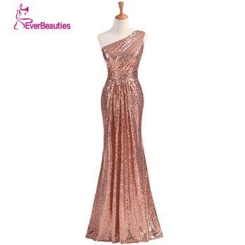 18a3f6195cb Vestidos De dama De honor brillantes lentejuelas largas 2019 color oro rosa  vino rojo azul un hombro coloridos Vestidos De Madrinha De Casamento