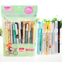 50pcs/lot 1lot Is 1bag Korea Lovely Cute Blue Ink Gel Pen for Student School Pens Writing Stationery 0.38 0.35 0.5mm Together