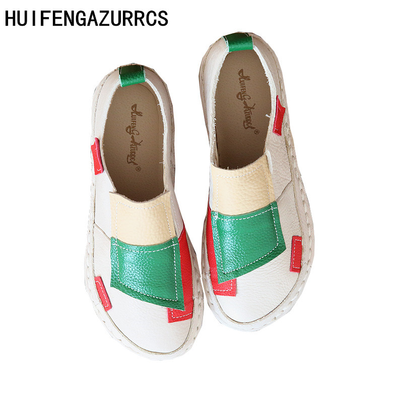 HUIFENGAZURRCS-Genuine Leather forest department retro small fresh head flat shoes,pure handmade comfortable soft soled shoes huifengazurrcs hot genuine leather